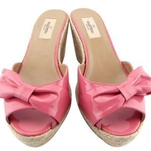 Valentino Pink Bow Espadrille Wedge Sandals